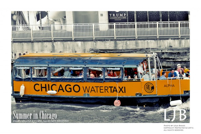 Chicago is so beautiful, especially during the summer. I enjoyed my time living in this great city and love capturing images of the city. The Chicago Water Taxi runs through the canals and offers transportation from the Oglivie Transportation Center to several Chicago street stops.
